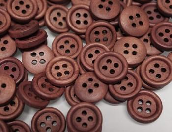 HNĚDÉ TMAVĚ kulaté dřevěné knoflíky, 1ks