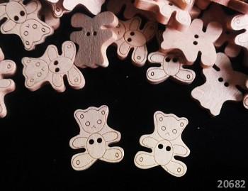 Dřevěné knoflíky MEDVÍDCI medvědi,  á 1ks
