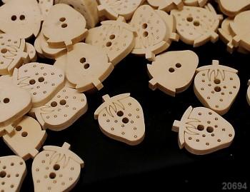 Dřevěné knoflíky JAHODY jahůdka velké, á 1ks