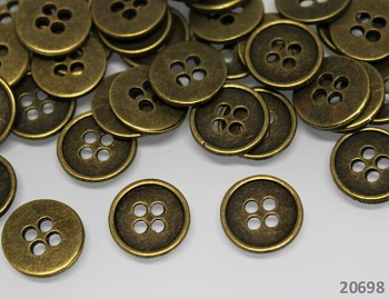 BRONZOVÉ kulaté kovové knoflíky 13mm, 1ks