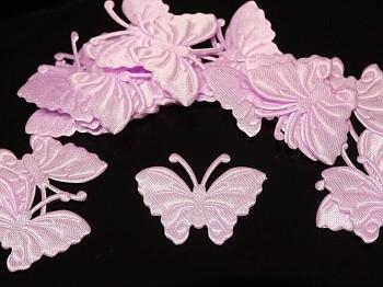 Aplikace saténová motýlek růžový, bal. 5ks