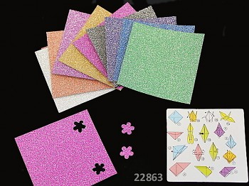 Origami papíry třpytivé s glitry scrapbooking