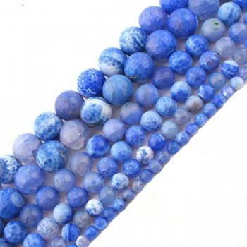 MODRÝ achát kuličky broušené kuličky 8mm přírodní minerál