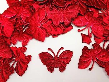 Aplikace saténová motýlek červený, bal. 5ks
