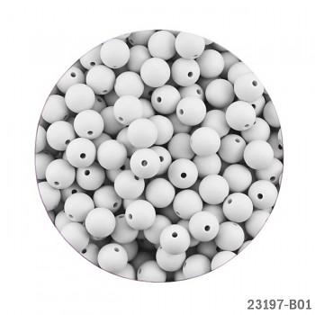 BÍLÉ silikonové korálky 9mm kuličky ze silikonu