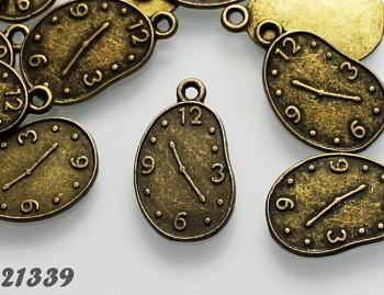 Vintage přívěšek bronzový HODINY, bal. 2ks