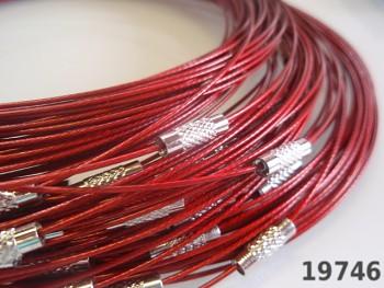 Červená obruč na náhrdelník lanko se šroubkem náhrdelník