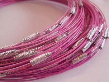 Růžová obruč na náhrdelník lanko se šroubkem náhrdelník