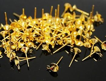 Náušnicové puzety s lůžkem 14/6 zlaté, bal. 10ks