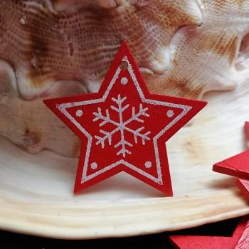 ČERVENÝ dřevěný přívěšek hvězdička dřevěné korálkování