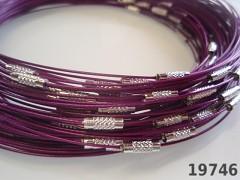 Fialová obruč na náhrdelník lanko se šroubkem náhrdelník