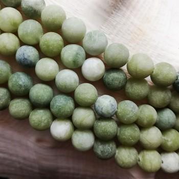 Přírodní JADEIT olivový kuličky Ø 8mm MRAZIVÝ, á 1ks