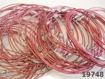 Růžová obruč na náramek lanko se šroubkem náramkové
