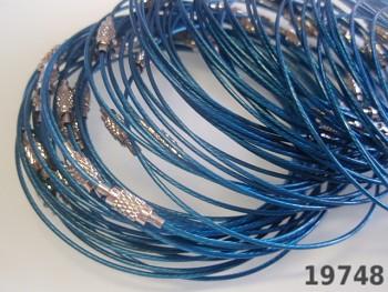 Modrá obruč na náramek lanko se šroubkem náramkové