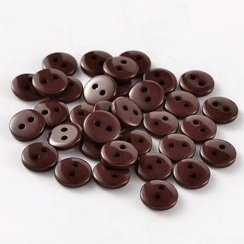 HNĚDÉ hladké kulaté mini knoflíky pryskyřice, á 1ks