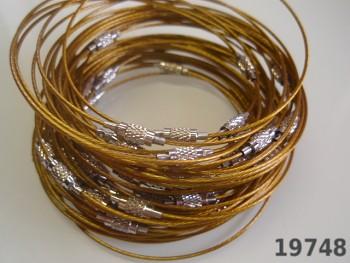 Zlatá obruč na náramek lanko se šroubkem náramkové