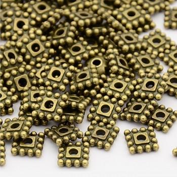Bronzové kovové korálky čtverečky 7/7 mezidíly, bal. 10ks