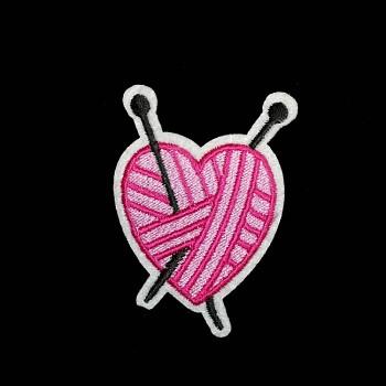 Nažehlovačka aplikace růžové srdce pletené