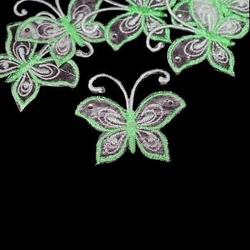 Nažehlovačka motýl šifón ZELENÝ