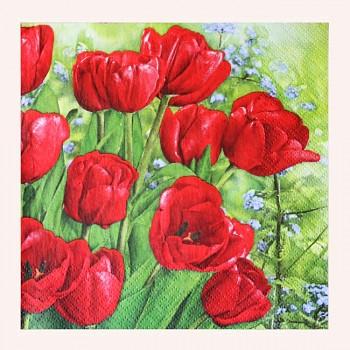 ČERVENÉ ubrousky s tulipány, 1ks