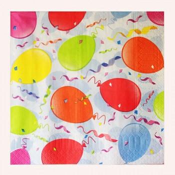 Balónky ubrousky s balónky párty ubrousky 33x33cm, 1ks