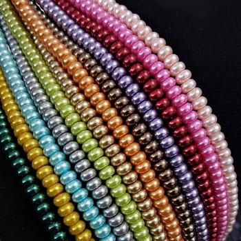 Korálky voskované perly rondelky 5/3mm MIX, bal. 20ks