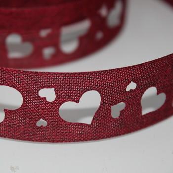 BORDÓ červená jutová stuha 25mm srdíčka,  á 1m