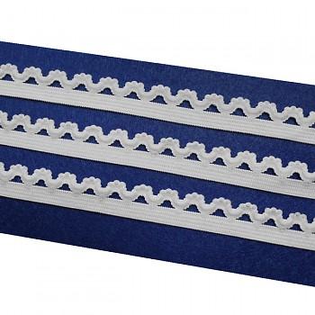 Bílá ramínková guma KRAJKOVÁ ramínka do podprsenky,  á 1m