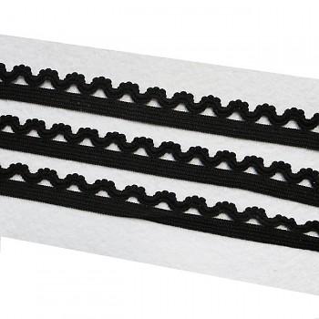 ČERNÁ ramínková guma KRAJKOVÁ ramínka do podprsenky,  á 1m