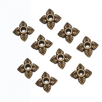 Kaplíky bronzové čtvercové 6/6 bižuterní kovodíl, bal. 10ks