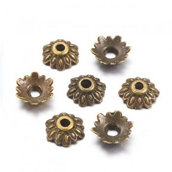 Kaplíky kytičky bronzové 8mm, á 10ks