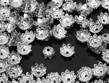 Kaplíky kytičky stříbrné 11mm, bal. 20ks
