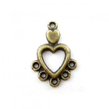 Ramínko bronzové srdíčko srdce,  bal. 2ks
