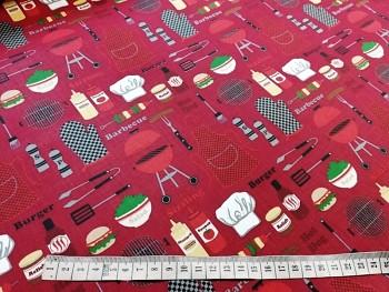 BARBECUE látka 100% bavlna plátno ATEST DĚTI  červená bordó