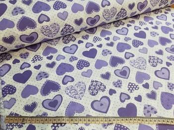 FIALOVÁ SRDÍČKA 100% bavlna plátno ATEST DĚTI, á 1m