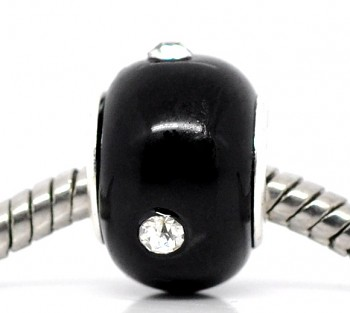 Korálky Pandora styl černé s kamínkem