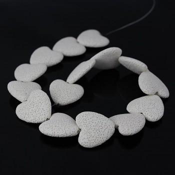 Přírodní láva BÍLÉ srdce korálek z minerálů, á 1ks
