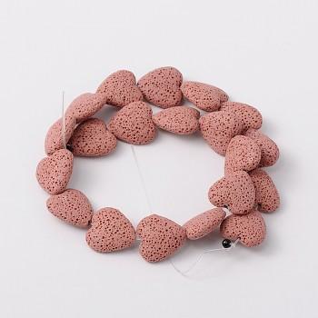 Přírodní láva RŮŽOVÉ srdce korálek z minerálů SRDÍČKO, á 1ks