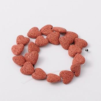 Přírodní láva ČERVENÉ srdce korálek z minerálů SRDÍČKO, á 1ks