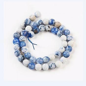 Korálky z minerálů Modrý ohnivý ACHÁT  broušené kuličky 8mm přírodní minerál