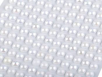 BÍLÉ samolepící kamínky perly 6mm MĚNIVÉ, 1 karta