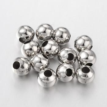 Korálky kovové PLATINOVÉ kuličky 8mm, bal. 20ks