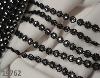 Borta s čirými kamínky ČERNÁ, á 10cm