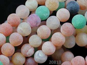 Přírodní ACHÁT dračí MIX, kuličky 6mm přírodní minerál